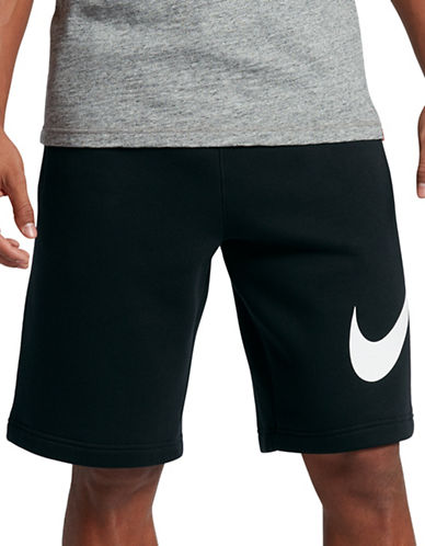 Nike Cotton-Blend Sportswear Shorts-BLACK-Medium 89157344_BLACK_Medium
