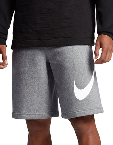Nike Cotton-Blend Sportswear Shorts-DARK GREY-Small 89157348_DARK GREY_Small