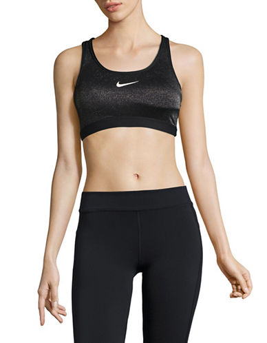 Nike Sparkling Metallic Sports Bra-BLACK-X-Small