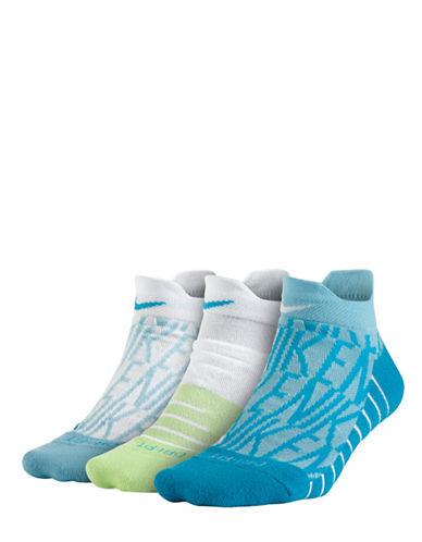 Nike Three-Pair Dry Cushion Low GFX Training Socks Set-BLUE-Medium