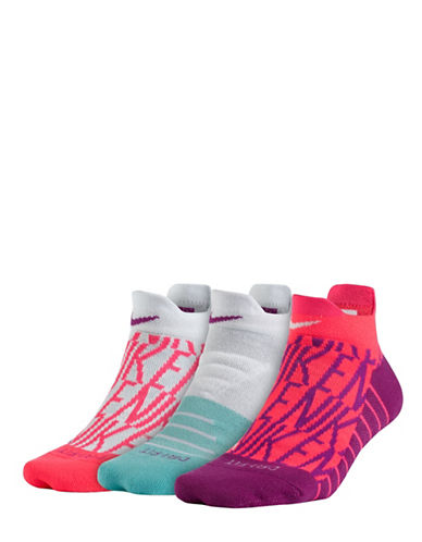 Nike Three-Pair Dry Cushion Low GFX Training Socks Set-PINK-Medium
