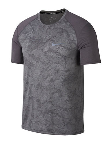 Nike Dry Miler Running Top-GREY-Large