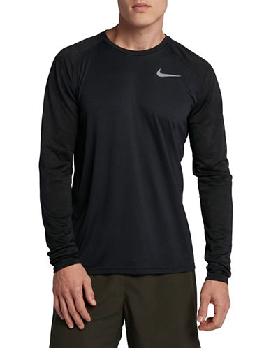 Nike Camo Dry Miler Running Top-BLACK-X-Large