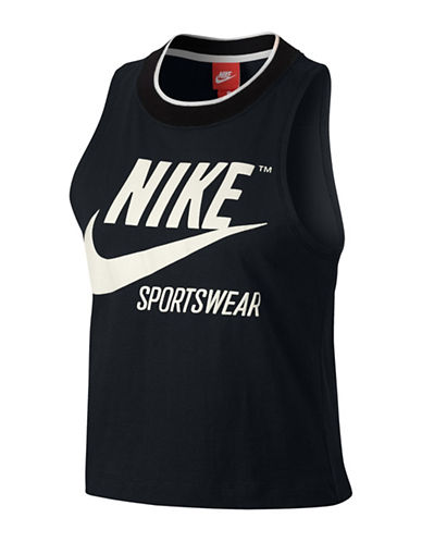Nike Sportswear Cropped Tank-BLACK-Small