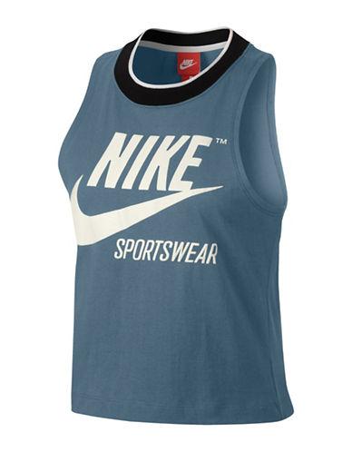 Nike Sportswear Cropped Tank-BLUE-Small