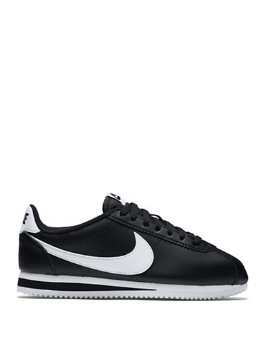 Nike Womens Classic Cortez Leather Sneakers-BLACK-5
