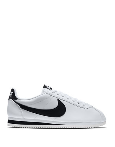 Nike Womens Classic Cortez Leather Sneakers-WHITE-9.5