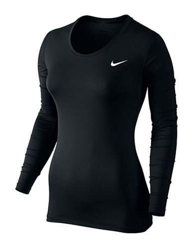 Nike Pro Cool Long Sleeve Top-BLACK-Large