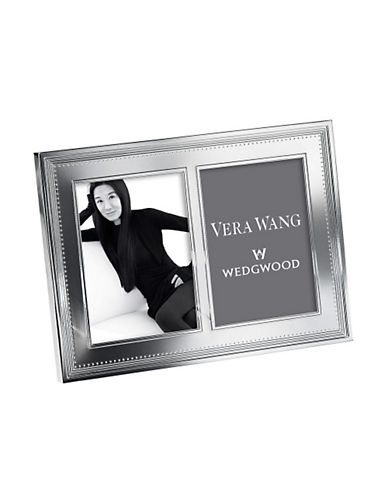Vera Wang Vera Wang Wedgwood Grosgrain Silver 5 X7In Double Frame-SILVER-Medium