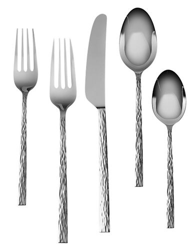 Vera Wang Hammered 5 Piece Flatware Set-SILVER-5 Piece