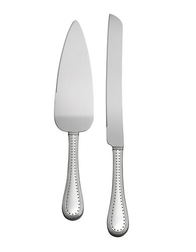 Vera Wang Grosgrain Platinum Silver Plated Cake Knife And Server Set-SILVER-One Size