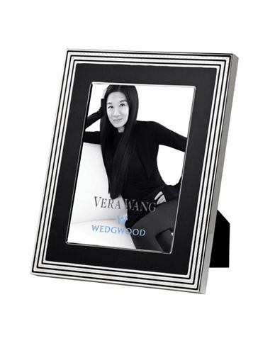 Vera Wang Wedgwood With Love Noir 8In X 10In Frame-SILVER PLATED WITH BLACK ENAMEL FINISH-One Size