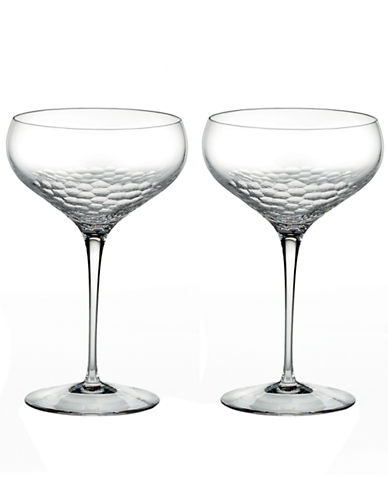 Vera Wang Sequin Saucer Champagne Pair-CLEAR-One Size