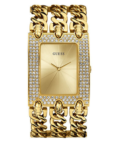 Guess Goldtone Chain Bracelet Watch-GOLD-One Size