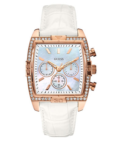 Guess Rose Goldtone White Croco Stamped Leather Strap Chronograph Watch-ROSE GOLD-One Size