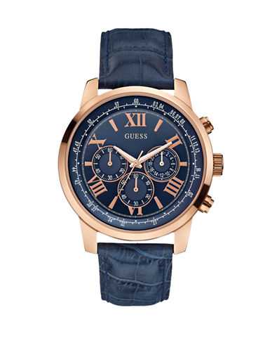 Guess Embossed Leather Chronograph Watch-NAVY-One Size