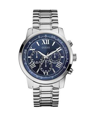 Guess Mens Chronograph Silver Tone Watch 45mm W0379G3-SILVER-One Size