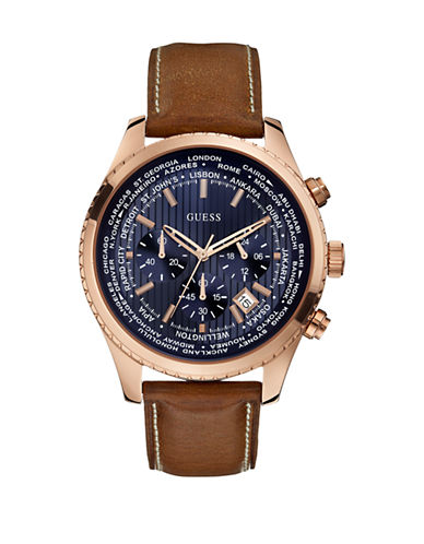 Guess Mens Chronograph Honey Brown Genuine Leather Watch 46mm W0500G1-BLUE-One Size