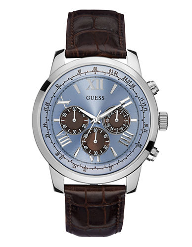 Guess Mens Chronograph Brown Genuine Leather Watch 45mm W0380G6-BROWN-One Size