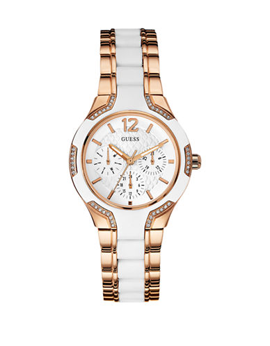 Guess Ladies Multifunction Stainless Steel Silicone Watch W0556L3-ROSEGOLD/WHITE-One Size