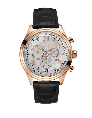 Gc Smartclass Chronograph Goldtone Leather Strap Watch-BLACK-One Size