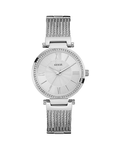 Guess Analog Silvertone Stainless Steel Watch-SILVER-One Size