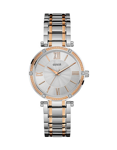 Guess Park Avenue Silver and Rose Gold Stainless Steel Watch-SILVER-One Size