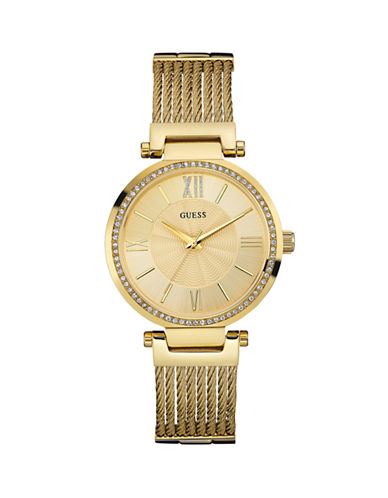 Guess Analog Goldtone Stainless Steel Watch-GOLD-One Size