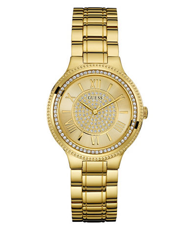 Guess Crystal Face Dress Watch-GOLD-One Size