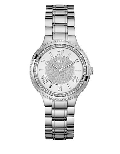 Guess Crystal Face Dress Watch-SILVER-One Size