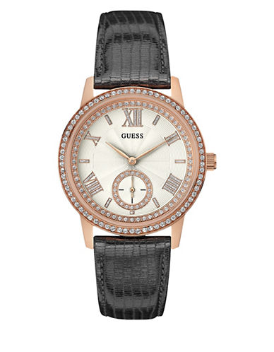 Guess Gramercy Rose Goldtone Leather Strap Watch-ROSE GOLD-One Size
