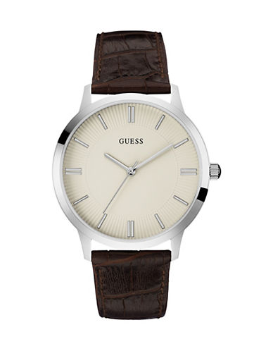Guess Leather Strap Analog Watch-BROWN-One Size