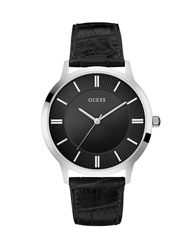 Guess Stainless Steel Croc-Embossed Leather Strap Watch-BLACK-One Size