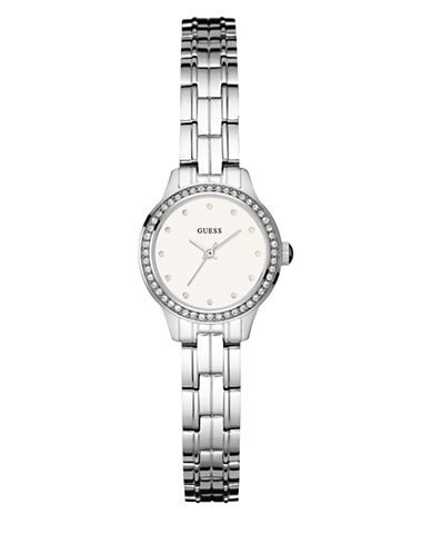 Guess Silvertone Stainless Steel Bracelet Watch-SILVER-One Size