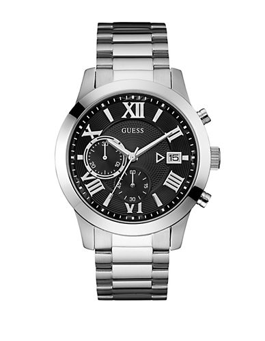 Guess Chronograph Silvertone Bracelet Watch-SILVER-One Size