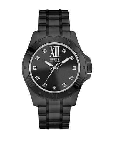 Guess Analog Walls St Black IP Bracelet Watch-BLACK-One Size