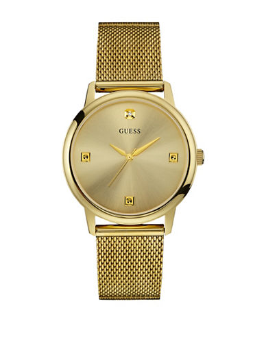 Guess Analog Goldtone Slim Mesh Bracelet Watch-GOLD-One Size