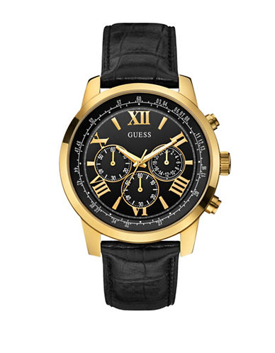 Guess Chronograph Black 45mm W0380G7 Genuine Leather Watch-BLACK-One Size