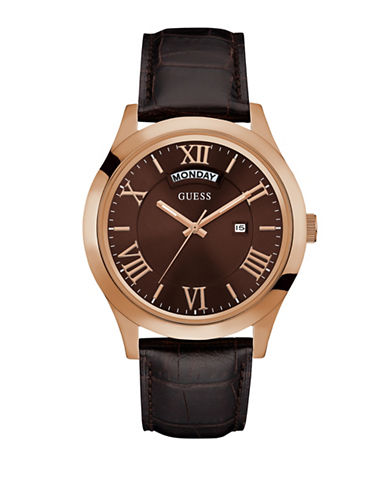 Guess Stainless Steel Brown Genuine Leather Watch-BROWN-One Size