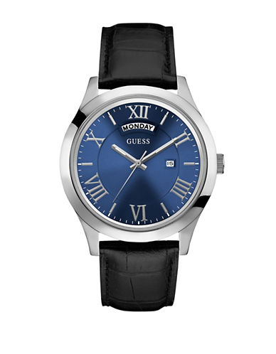Guess Polished Leather Analog Watch-BLACK-One Size