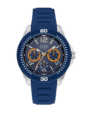 Guess Chronograph Force Stainless Steel Silicone Strap Watch-BLACK-One Size