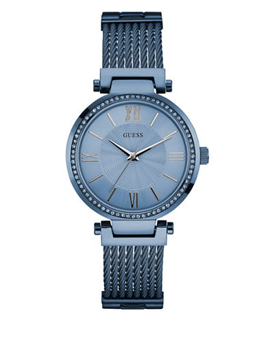 Guess Blue Tone Stainless Steel Dress Watch-BLUE-One Size