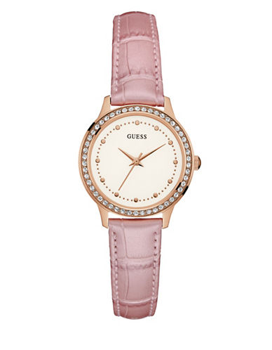 Guess Stainless Steel Pink Genuine Leather Watch-PINK-One Size