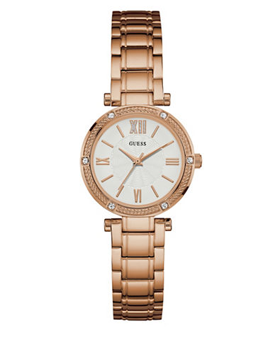 Guess Crystal Rope-Bezel Dress Watch-ROSE GOLD-One Size