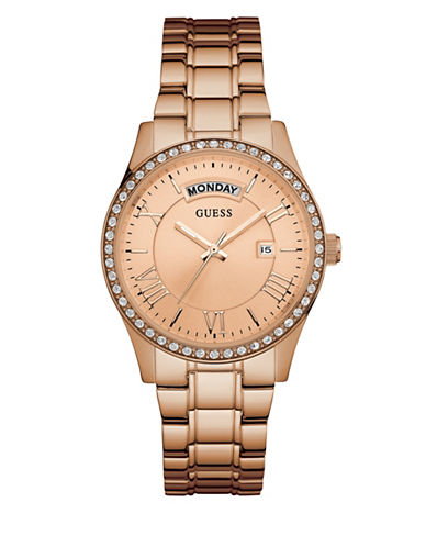 Guess Stainless Steel Crystal Goldtone Watch-ROSE GOLD-One Size