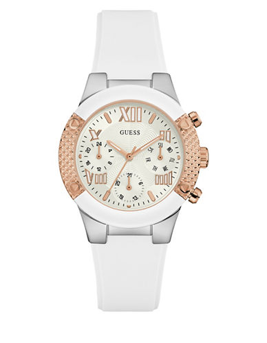 Guess Rockstar Rose Goldtone Silicone Strap Watch-ROSE GOLD-One Size