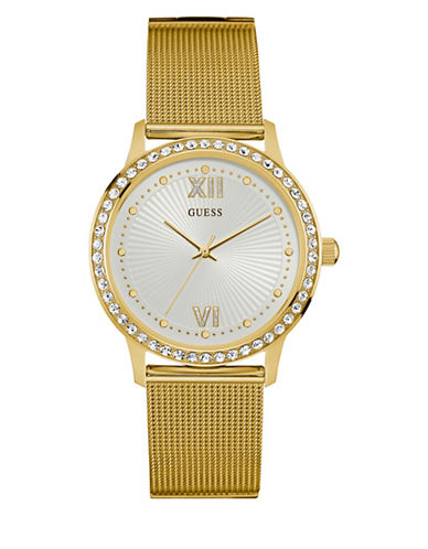 Guess W0766L2 Goldtone Stainless Steel Mesh Bracelet Watch-GOLD-One Size