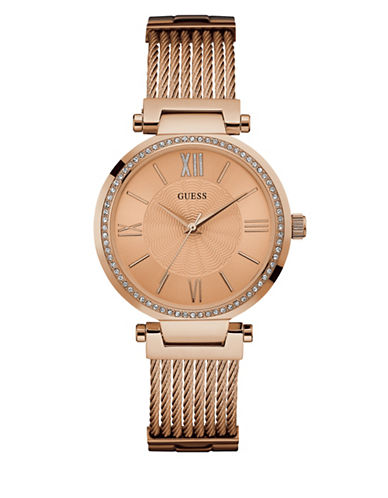 Guess Dress Analog W0638L4 Rose Goldtone Bracelet Watch-PINK-One Size
