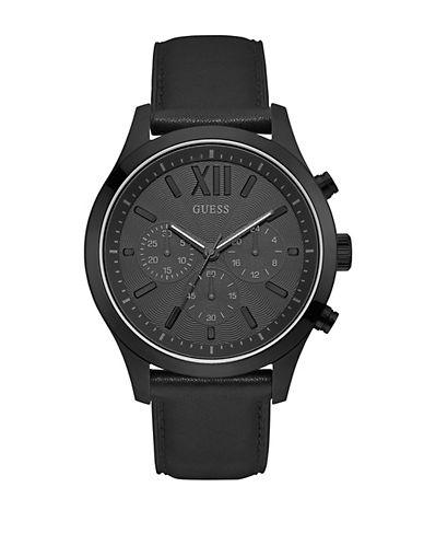 Guess Dress Chronograph W0789G4 Black Stainless Steel Leather Strap Watch-BLACK-One Size