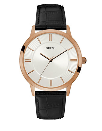 Guess Dress Analog W0664G4 Goldtone Leather Strap Watch-PINK-One Size